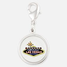 Fabulous Las Vegas Silver Round Charm