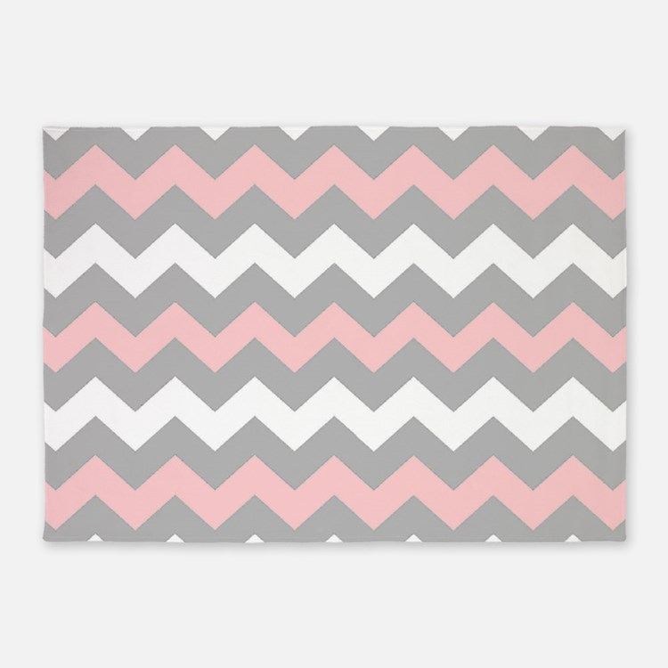 Pink And Gray Chevron Stripes 5'x7'Area Rug