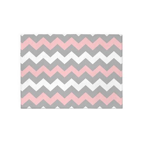 Pink And Gray Chevron Stripes 5u0027x7u0027Area Rug