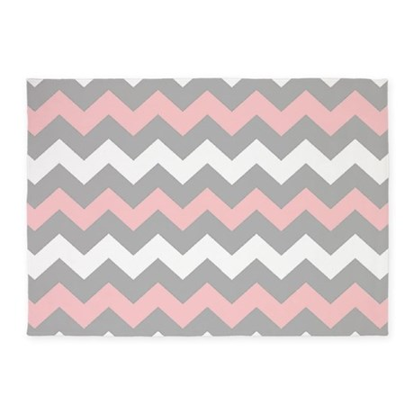 Captivating Pink And Gray Chevron Stripes 5u0027x7u0027Area Rug