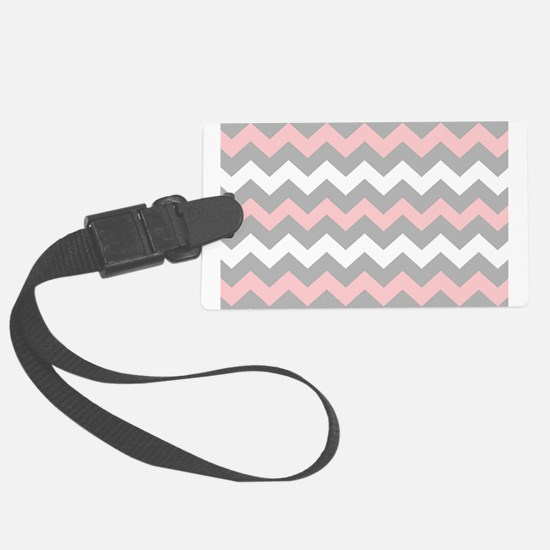 Pink And Gray Chevron Stripes Large Luggage Tag