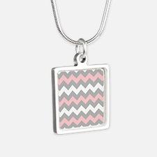 Pink And Gray Chevron Stripes Silver Square Neckla