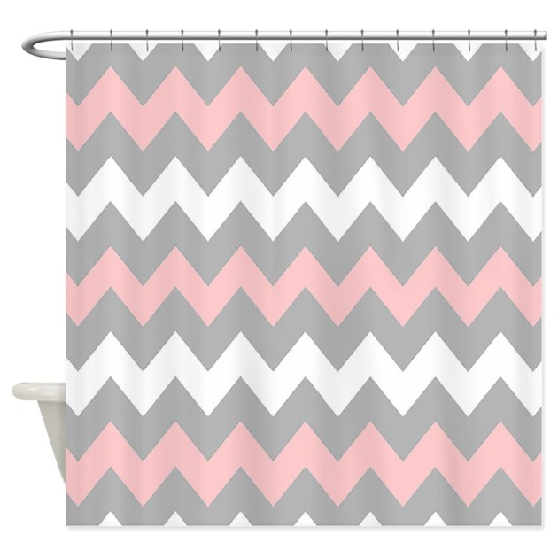 Pink And Gray Chevron Stripes Shower Curtain By Chevroncitystripes