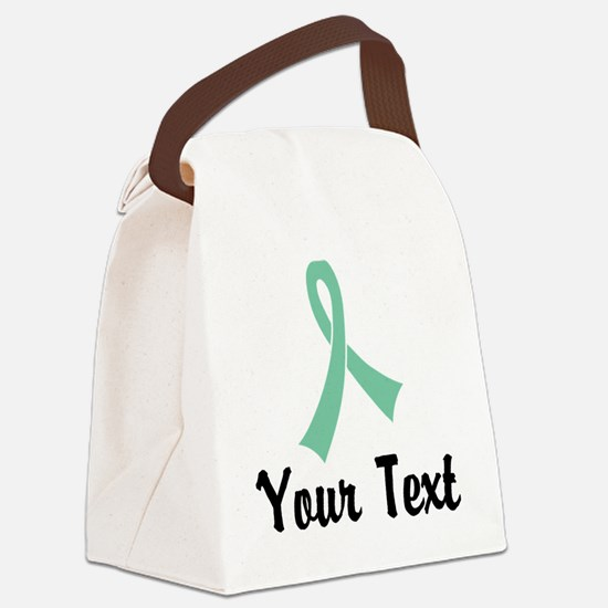 Personalized Light Green Ribbon A Canvas Lunch Bag