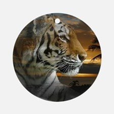 Tiger Sunset Ornament (Round)