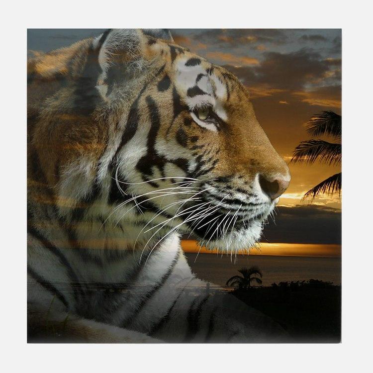 Tiger Sunset Tile Coaster