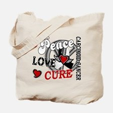 Carcinoid Cancer Peace Love Cure 2 Tote Bag