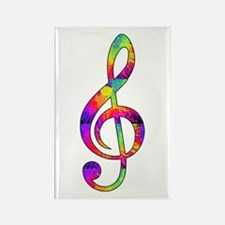 Treble Clef - paint spl Rectangle Magnet (10 pack)