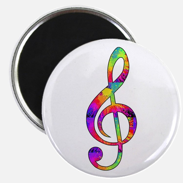 "Treble Clef - paint splatte 2.25"" Magnet (10 pack)"