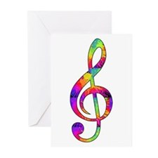 Treble Clef - paint spla Greeting Cards (Pk of 10)