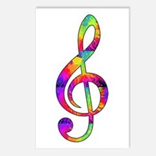 Treble Clef - paint splat Postcards (Package of 8)