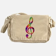 Treble Clef - paint splattered Messenger Bag