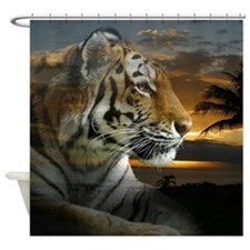 Tiger Sunset Shower Curtain