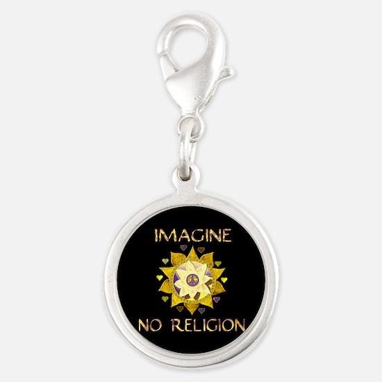 Imagine No Religion Silver Round Charm