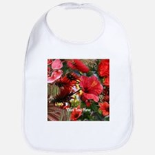Customizable Red Flower Photo Collage Bib