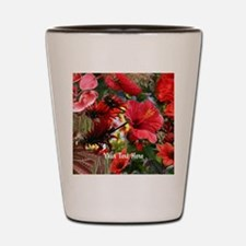 Customizable Red Flower Photo Collage Shot Glass