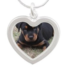 Rottweiler Puppy Silver Heart Necklace