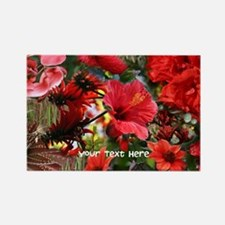 Customizable Red Flower Photo Col Rectangle Magnet