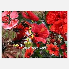 Customizable Red Flower Photo Colla Invitations