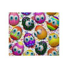 Cute Easter Eggs Cartoon Pattern Throw Blanket