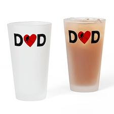 Hockey Heart Dad Drinking Glass