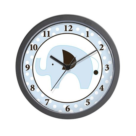 Blue Elephant Wall Clock