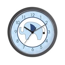 Navy Blue/light Blue Mod Elephant Wall Clock