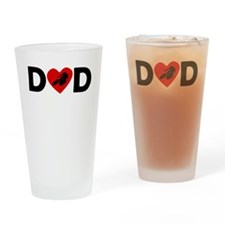 Cycling Heart Dad Drinking Glass