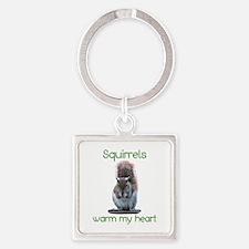 Squirrels Warm Hearts Square Keychain