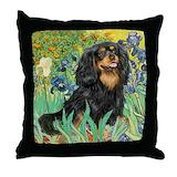 Black and tan cavalier Throw Pillows