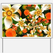 Fractal Orange Blossoms Yard Sign