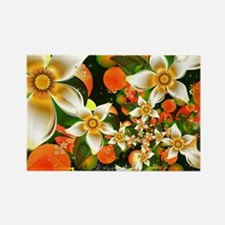 Fractal Orange Blossoms Rectangle Magnet