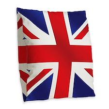 Union Jack UK Flag Burlap Throw Pillow