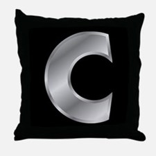 Silver Letter C Throw Pillow