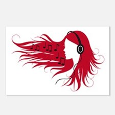Music woman with headphones and red hair Postcards
