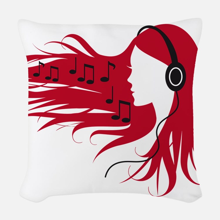 Music woman with headphones and red hair Woven Thr