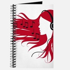 Music woman with headphones and red hair Journal