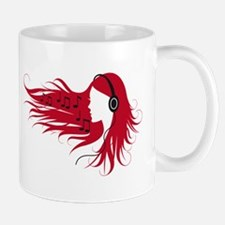 Music woman with headphones and red hair Mugs