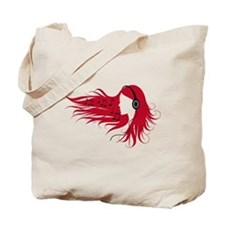 Music woman with headphones and red hair Tote Bag