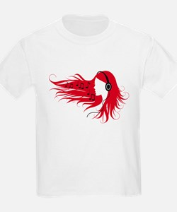 Music woman with headphones and red hair T-Shirt
