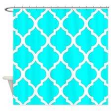 Aqua quatrefoil pattern 3252014 Shower Curtain