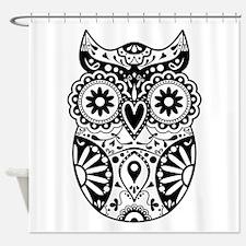 Sugar Skull Style Owl Shower Curtain