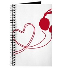 I love music, headphone with red heart Journal