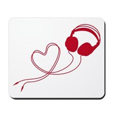 I love music, headphone with red heart Mousepad
