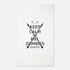 Keep Calm and Kill Zombies (quietly) blk text. 3'x