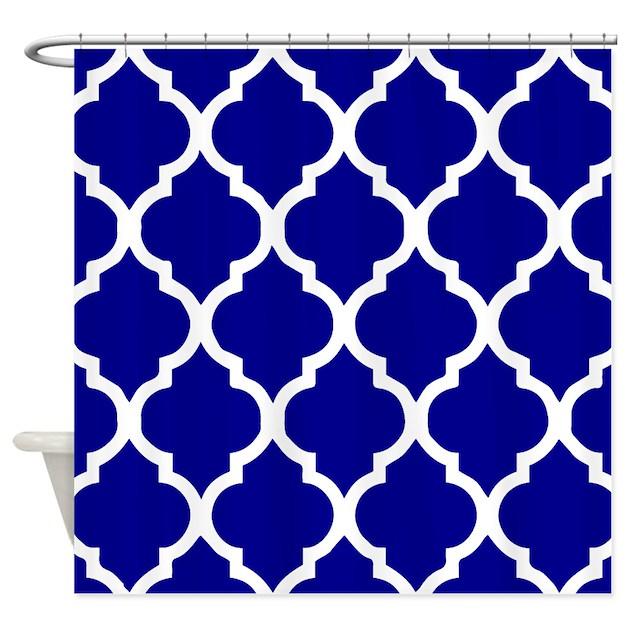 Dark Blue Quatrefoil Pattern Shower Curtain By Showercurtainsworld