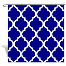 Dark Blue quatrefoil pattern Shower Curtain