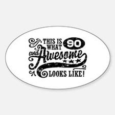90th Birthday Sticker (Oval)