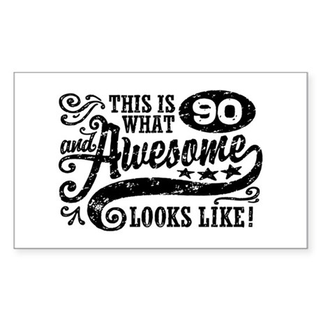 90th Birthday Sticker (Rectangle)