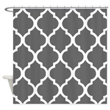 Dim gray quatrefoil pattern Shower Curtain